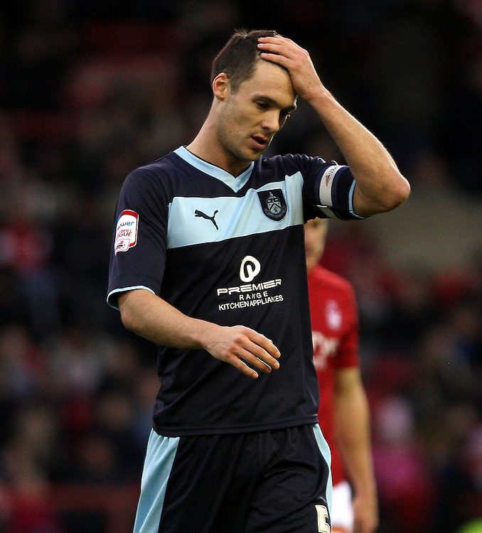 Burnley's Jason Shackell  looks unhappy as the game ends..Football - npower Football League Championship - Nottingham Forest v Burnley - Saturday 8th December 2012 - The City Ground - Nottingham..