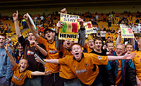 Photo. Jed Wee, Digitalsport<br /> NORWAY ONLY<br /> <br /> Wolverhampton Wanderers v Tottenham Hotspurs, FA Barclaycard Premiership, 15/05/2004.<br /> Wolves fans savour the atmosphere at their last Premiership game before relegation, and send a message to Henri Camara to remain with the club.