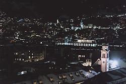 THEMENBILD - die Servitenkirche zum hl. Josef mit den Lichtern der nächtlichen Stadt, aufgenommen am 22. Jänner 2021 in Innsbruck, Oesterreich // the Servite Church of St. Joseph with the lights of the city at night in Innsbruck, Austria on 2021/01/22. EXPA Pictures © 2021, PhotoCredit: EXPA/ JFK