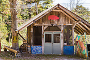 Barbecue smokehouse in the Blue Ridge mountain hamlet of Little Switzerland, North Carolina.
