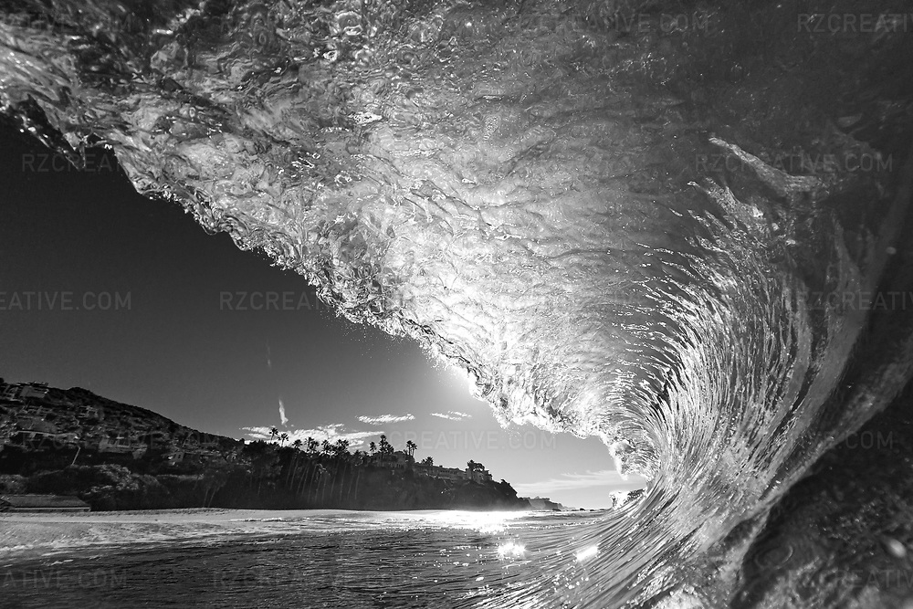 Black and white water shot of a breaking wave at Aliso Creek. Photo © Robert Zaleski / rzcreative.com<br /> —<br /> To license this image contact: robert@rzcreative.com