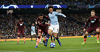 Football - 2018 / 2019 UEFA Champions League - Group F: Manchester City vs. 1899 Hoffenheim<br /> <br /> Leroy Sane of Manchester City and Nadiem Amiri of Hoffenheim at The Etihad.<br /> <br /> COLORSPORT/LYNNE CAMERON