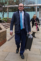 © Licensed to London News Pictures. 10/01/2020. London, UK. David Shipley, the Conservative party activist who produced 'Brexit: The Movie' leaves Southwark Crown Court in London after his sentencing hearing was adjourned. David Shipley has admitted lying to secure a large investment in his hedge fund. He is a corporate finance executive and was a leading voice in the campaign for Britain leaving the EU, producing the film, 'Brexit: The Movie' which encouraged Britons to vote leave in the referendum. Photo credit: Vickie Flores/LNP