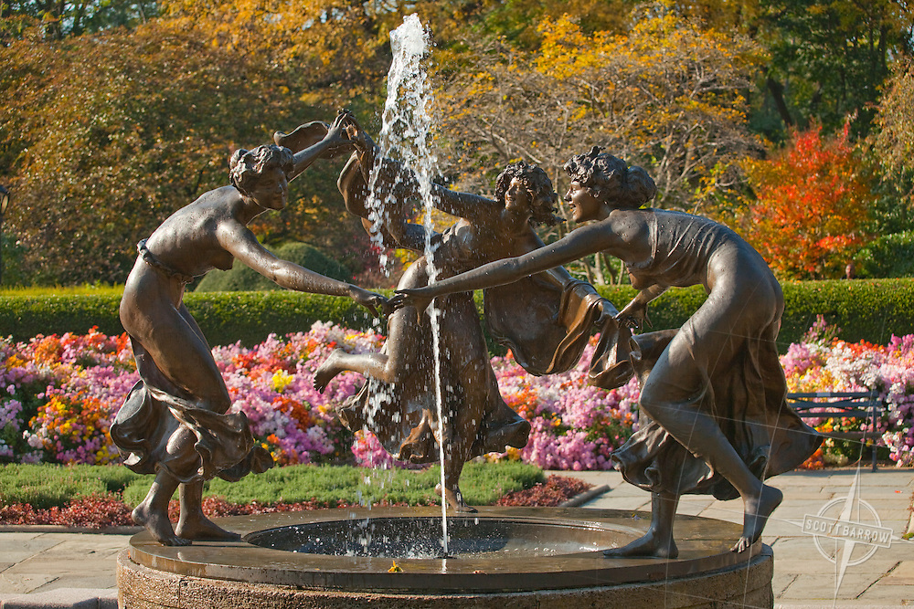 The French Garden's Untermyer Fountain of Three Dancing Maidens. The conservatory Garden in Central Park, NYC.
