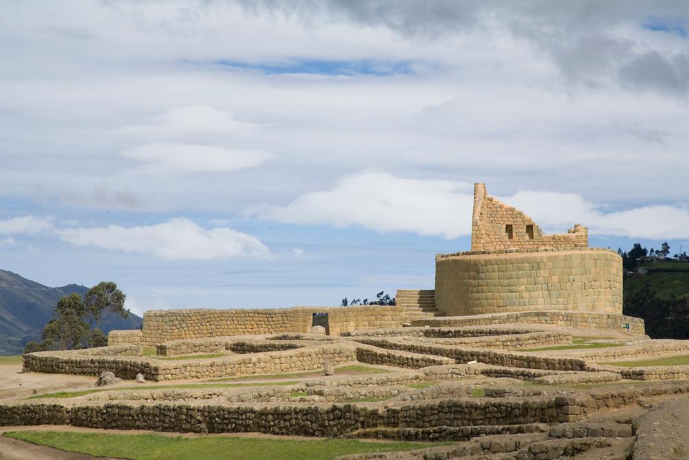 South America, Ecuador.  Ingapirca, Temple of the Sun, also known as The Castle (El Castillo), ruins of Inca settlement built in 15th century.