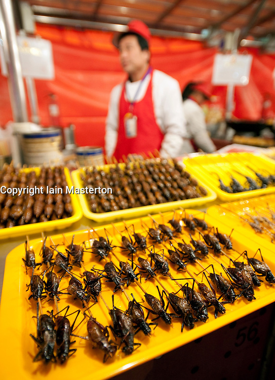 Cooked insects for sale at night food market off Wangfujing Street in Beijing