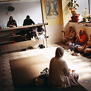 Elderly women lunch at a temple in Leicester city. Leicester has one of the largest Sikh populations in the world outside India. ..Leicester is expected to be the first city in the UK to have a majority non-white population within the next few years. It is one of the most ethnically-diverse cities in Europe. ....Picture taken April 2005 by Justin Jin