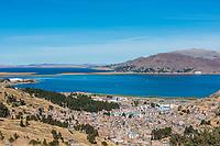 Aerial view of Titicaca Lake in the peruvian Andes at Puno Peru