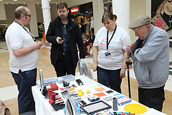 Stall promoting products and services for people with visual impairments, run by the charity Mysight in Nottingham Victoria Shopping Centre