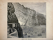 View of St. Helena from The merchant vessel : a sailor boy's voyages to see the world [around the world] by Nordhoff, Charles, 1830-1901 engraved by C. LaPlante; some illustrations by W.L. Wyllie Publisher New York : Dodd, Mead & Co. 1884