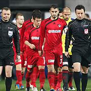 Referee's Tolga Ozkalfa (L) during their Turkish superleague soccer match Besiktas between Gaziantepspor at BJK Inonu Stadium in Istanbul Turkey on Tuesday, 05 January 2012. Photo by TURKPIX