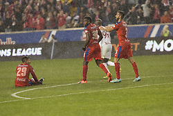 March 1, 2018 - Harrison, New Jersey, United States - Players of CD Olimpia of Honduras react after allowing goal during 2018 CONCACAF Champions League round of 16 game against New York Red Bulls at Red Bull arena, Red Bulls won 2 - 0 (Credit Image: © Lev Radin/Pacific Press via ZUMA Wire)