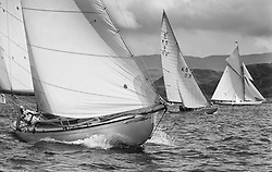 """Clio, a 46' Sloop built in 1926, racing under genoa with Sunshine and Moonbeam in the West Kyle.<br /> Limited to ten prints in Black & White, printed on fine art paper 24""""x16"""", stamped and signed."""