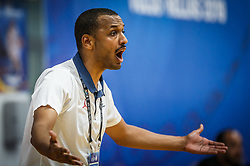 Kebe  Lamine, head coach of France during basketball match between National teams of Slovenia and France in the Group Phase C of FIBA U18 European Championship 2019, on July 27, 2019 in Nea Ionia Hall, Volos, Greece. Photo by Vid Ponikvar / Sportida