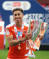 Blackpool's Jordan Lawrence-Gabriel with the trophy<br /> <br /> Photographer Rob Newell/CameraSport<br /> <br /> The EFL Sky Bet League One Play-Off Final - Blackpool v Lincoln City - Sunday 30th May 2021 - Wembley Stadium - London<br /> <br /> World Copyright © 2021 CameraSport. All rights reserved. 43 Linden Ave. Countesthorpe. Leicester. England. LE8 5PG - Tel: +44 (0) 116 277 4147 - admin@camerasport.com - www.camerasport.com