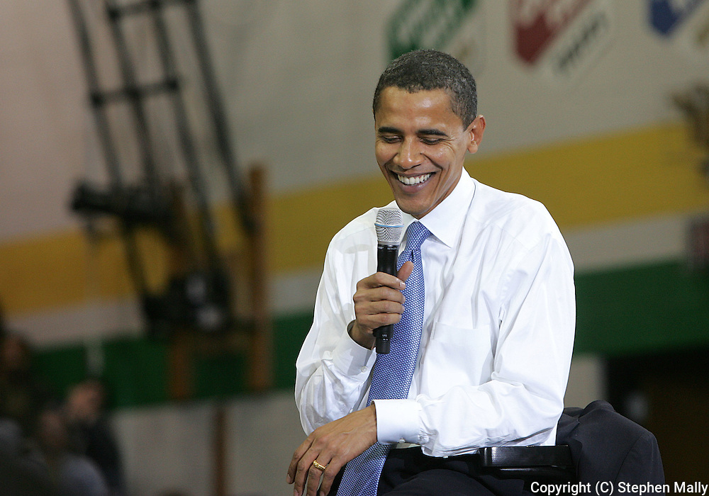 10 February 2007:  Democratic presidential hopeful Senator Barack Obama (D-IL) smiles as he speaks at a town hall meeting at Kennedy High School in Cedar Rapids, Iowa on February 10, 2007.