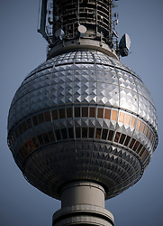 Detail of sphere at top of TV tower in Mitte Berlin Germany