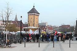 10.03.2016, Stadthalle, Reutlingen, GER, Wahlkampfveranstaltung der AfD, im Bild Uebersicht des Hinterhofs an der Reutlinger Stadthalle mit Kundegebung und Polizei // election of the Alternative for Germany (AfD) party at Stadthalle in Reutlingen, Germany on 2016/03/10. EXPA Pictures © 2016, PhotoCredit: EXPA/ Eibner-Pressefoto/ Fudisch<br /> <br /> *****ATTENTION - OUT of GER*****