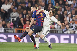 March 2, 2019 - Madrid, Madrid, Spain - Sergio Busquets (midfielder; Barcelona), Luka Modric (midfielder; Real Madrid) in action during La Liga match between Real Madrid and FC Barcelona at Santiago Bernabeu Stadium on March 3, 2019 in Madrid, Spain (Credit Image: © Jack Abuin/ZUMA Wire)