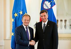 Donald Tusk, President of the European Council at meeting with Borut Pahor, president of Republic of Slovenia, on April 3, 2017 in Ljubljana, Slovenia. Photo by Vid Ponikvar / Sportida