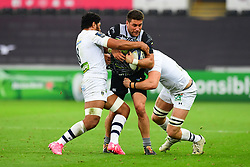 Ospreys' Kieron Fonotia is tackled by Clermont Auvergne's Paul Jedrasiak - Mandatory by-line: Craig Thomas/JMP - 15/10/2017 - RUGBY - Liberty Stadium - Swansea, Wales - Ospreys Rugby v Clermont Auvergne - European Rugby Champions Cup