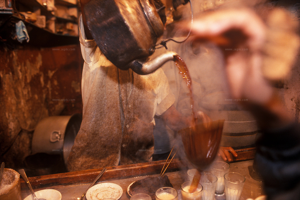 The Chaiwalla (tea vendor) is a well-entrenched street entrepreneur in Delhi. Indian massala tea is prepared with milk, ginger, cardamom and cloves and has a distinctive taste. One can have a glass of chai at any time of day and night in Delhi.