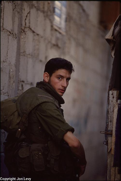 Israeli soldier patrolling in Gaza City, Gaza, Israel, 1990