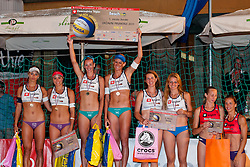 Winners Andreja Vodeb and Martina Jakob, second place for Erika and Simona Fabjan, third place for Mihela Istenic and Snezana Islamovic, fourth place for Jelena Strel Kosmac and Jelena Pesic at Zavarovalnica Triglav Beach Volley Open as tournament for Slovenian national championship on July 30, 2011, in Kranj, Slovenia. (Photo by Matic Klansek Velej / Sportida)
