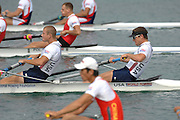 Munich, GERMANY, 28.08.2007, USA M2- Bow jason READ and Kyle LARSON,  Third day on the  Munich Olympic Regatta Course, venue for 2007 World Rowing Championship, Bavaria. [Mandatory Credit. Peter Spurrier/Intersport Images]..... , Rowing Course, Olympic Regatta Rowing Course, Munich, GERMANY