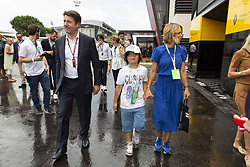 Laura Tenoudji-Estrosi and her son Milan Tapiro, Christian Estrosi walk in paddock area during the Grand Prix de France 2018, Le Castellet on June 23rd, 2018. Photo by Marco Piovanotto/ABACAPRESS.COM