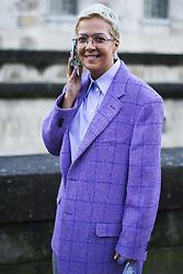March 4, 2018 - Paris, France - Ksenia Chilingarova wears glasses, a purple blazer jacket, flare pants, outside Valentino, during Paris Fashion Week Womenswear Fall/Winter 2018/2019, on March 4, 2018 in Paris, France. (Credit Image: © Nataliya Petrova/NurPhoto via ZUMA Press)