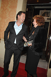 PIERS MORGAN and CILLA BLACK at the engagement party of Vanessa Neumann and William Cash held at 16 Westbourne Terrace, London W2 on 15th April 2008.<br />