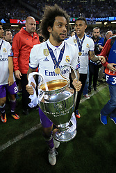 3rd June 2017 - UEFA Champions League Final - Juventus v Real Madrid - Marcelo of Real holds the trophy - Photo: Simon Stacpoole / Offside.