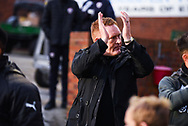 David Hopkin of Bradford City (Manager) claps the away supporters before kick off during the EFL Sky Bet League 1 match between Barnsley and Bradford City at Oakwell, Barnsley, England on 12 January 2019.