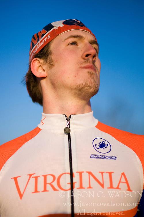 Virginia Cavaliers Blake Walker..Members of the University of Virginia Cycling Team met at Reeds Gap on the Blue Ridge Parkway in Virginia on April 9, 2007 for a team photo shoot.