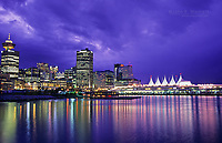 Canada Place and downtown Vancouver at night, Vancouver, BC, Canada