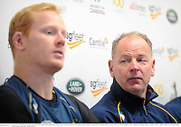 16 June 2013; Brumbies head coach Jake White with captain Peter Kimlin, left, during a press conference ahead of their game against British & Irish Lions on Tuesday. British & Irish Lions Tour 2013, Brumbies Press Conference, Brumbies Rugby Training Centre, Griffith, Canberra, Australia. Picture credit: Stephen McCarthy / SPORTSFILE