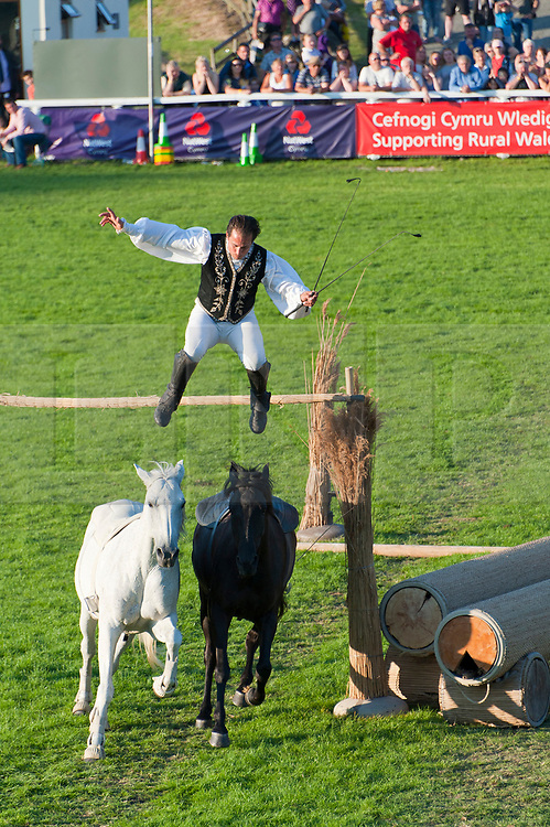 © Licensed to London News Pictures. 24/07/2017. Llanelwedd, UK. The Lorenzo Horse Show takes place in the Main Ring on the first day of the Royal Welsh Show. The Royal Welsh Agricultural Show is hailed as the largest & most prestigious event of its kind in Europe. In excess of 200,000 visitors are expected this week over the four day show period. The first ever show was at Aberystwyth in 1904 and attracted 442 livestock entries. Photo credit: Graham M. Lawrence/LNP