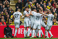 Matt Doherty (Wolverhampton Wanderers) celebrates his goal to give Wolves the lead 0-1 during the FA Cup semi-final match between Watford and Wolverhampton Wanderers at Wembley Stadium in London, England on 7 April 2019.