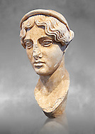 Roman bust of a female deity, circa 117-138 AD from the Villa Adriana (Hadrian), Tivoli, Italy. The head, made separately for insertion onto a larger than life size body, is that of a female deity; type is known from other copies from a Greek original, probably from Attic circa 470-460 B.C. The bust was found in Hadrian's villa and is therefore dated to 117-138 AD. The National Roman Museum, Rome, Italy .<br /> <br /> If you prefer to buy from our ALAMY PHOTO LIBRARY  Collection visit : https://www.alamy.com/portfolio/paul-williams-funkystock/roman-museum-rome-sculpture.html<br /> <br /> Visit our ROMAN ART & HISTORIC SITES PHOTO COLLECTIONS for more photos to download or buy as wall art prints https://funkystock.photoshelter.com/gallery-collection/The-Romans-Art-Artefacts-Antiquities-Historic-Sites-Pictures-Images/C0000r2uLJJo9_s0