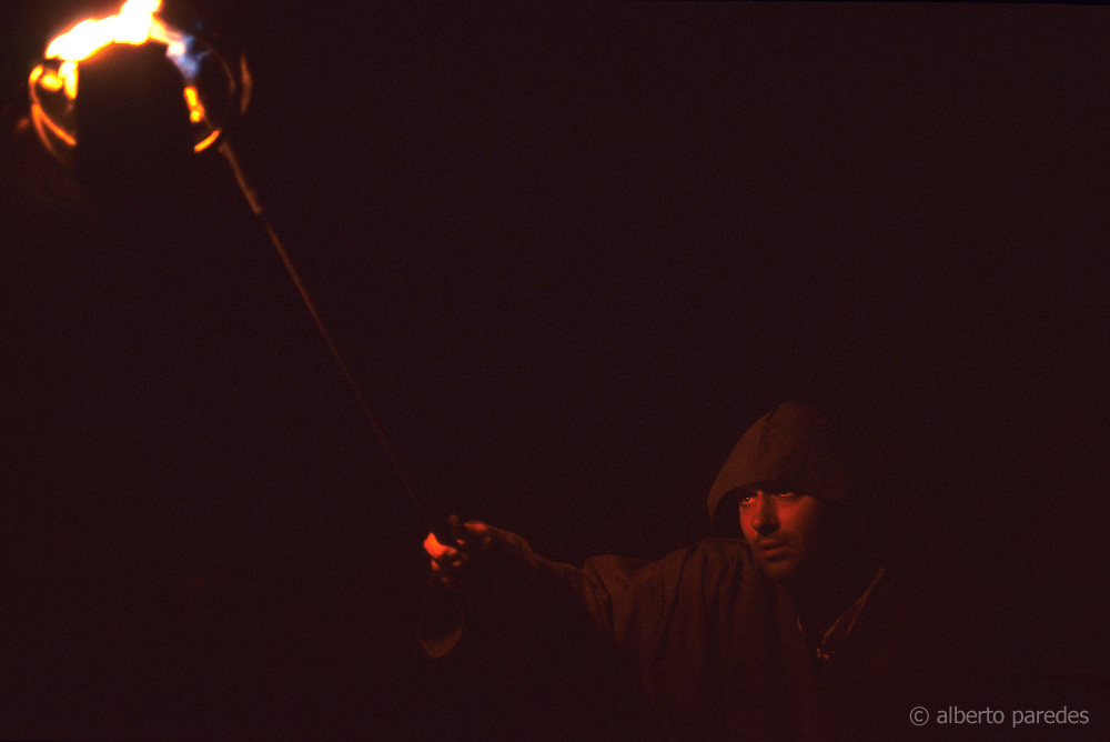 SPAIN /  Extremadura / Badajoz / Alburquerque.  Medieval recreations in Spain. Monk with torch. The village celebrates every August Medieval journeys.....