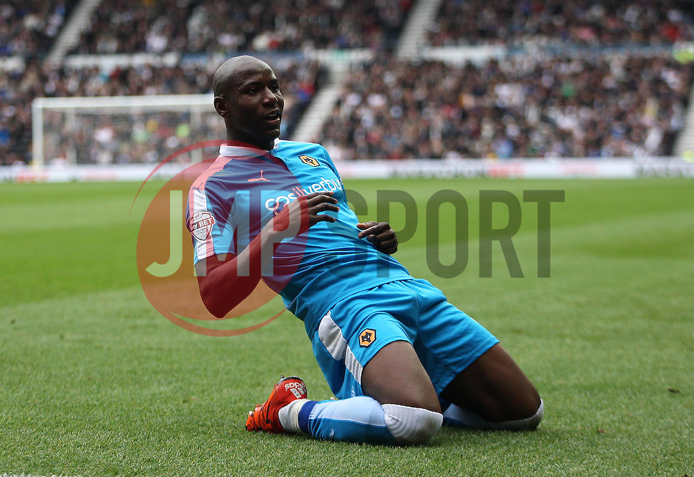 Benik Afobe of Wolverhampton Wanderers celebrates scoring his sides first goal - Mandatory byline: Jack Phillips / JMP - 07966386802 - 18/10/2015 - FOOTBALL - The iPro Stadium - Derby, Derbyshire - Derby County v Wolverhampton Wanderers - Sky Bet Championship