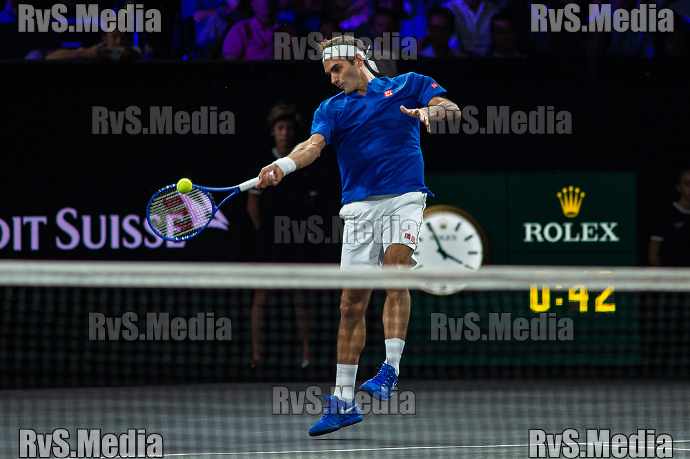 GENEVA, SWITZERLAND - SEPTEMBER 21: Roger Federer of Team Europe plays a forehand during Day 2 of the Laver Cup 2019 at Palexpo on September 21, 2019 in Geneva, Switzerland. The Laver Cup will see six players from the rest of the World competing against their counterparts from Europe. Team World is captained by John McEnroe and Team Europe is captained by Bjorn Borg. The tournament runs from September 20-22. (Photo by Monika Majer/RvS.Media)