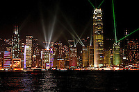 Symphony of Lights is a synchronised building exterior decorative light and laser multimedia display, featuring 44 buildings on both sides of the Victoria Harbour of Hong Kong accompanied by symphonic music.  Organised by the Hong Kong Tourism Board. Displayed every night with good weather at 8pm Hong Kong Time, the show is an orchestration of music, decoration lights, laser light displays, and pyrotechnic fireworks. The multimedia light and sound show lasts for about 14 minutes. Symphony of Lights is a synchronised building exterior decorative light and laser multimedia display, featuring 44 buildings on the Hong Kong Island side of Victoria Harbour of Hong Kong accompanied by symphonic music.  The sound and light show is organized by the Hong Kong Tourism Board and displayed every night at 8pm, this unique show is an orchestration of music, decoration lights, laser light displays and occasional fireworks during special occasions such as Chinese New Year. The multimedia light and sound show lasts for about 15 minutes.