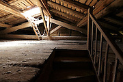 empty raw attic roof space with stairs and skylight