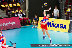 25.09.2015, MHP Aren, Ludwigsburg, GER, Volleyball Vier Nationen Turnier, Slowenien vs Serbien, im Bild Aufschlag Marko Podrascanin #18 (Serbien/Serbia) // during the match between Slovenia and Serbia of the Volleyball four Nations Tournament at the MHP Aren in Ludwigsburg, Germany on 2015/09/25. EXPA Pictures © 2015, PhotoCredit: EXPA/ Eibner-Pressefoto/ Wuechner<br /> <br /> *****ATTENTION - OUT of GER*****