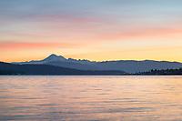 Sunrise over Mount Baker from Anacortes Washington