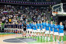 Team Slovenia listening to the National Anthem during friendly basketball match between National teams of Slovenia and Croatia, on June 18, 2021 in Arena Stozice, Ljubljana, Slovenia. Photo by Vid Ponikvar / Sportida