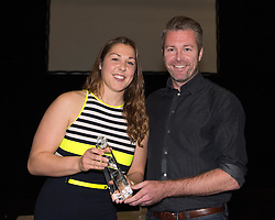Willie Kirk presents the Manager's Player of the Season award to Bristol Academy goalkeeper Mary Earps - Photo mandatory by-line: Paul Knight/JMP - Mobile: 07966 386802 - 11/10/2015 - Sport - Football - Bristol - Stoke Gifford Stadium - Bristol Academy WFC End of Season Awards 2015
