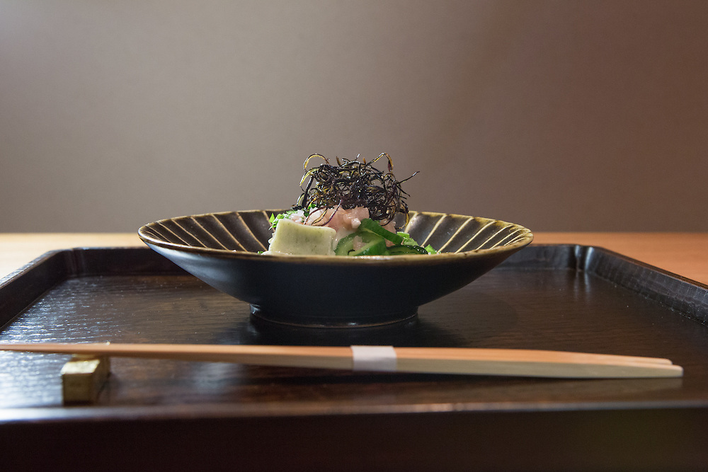 Chilled eggplant with polka-dot cucumber (nori-fu, myoga, shiso yuzu) at Kajitsu, 125 E. 39th St., New York.